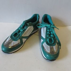 NWOB RACHEL ZOE TEAL SILVER LEATHER SNEAKERS 7.5